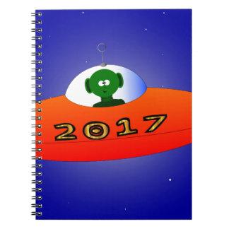 Happy New Year 2017 Alien Spiral Notebook