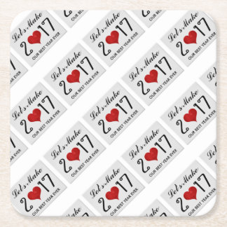 Happy New Year 2017 Best Year Ever Typography Square Paper Coaster