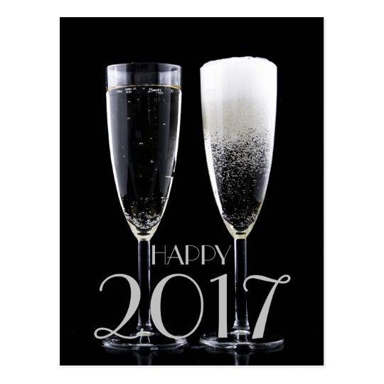 Happy New Year 2017 Black White Champagne Flute Postcard
