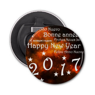Happy new year 2017 button bottle opener