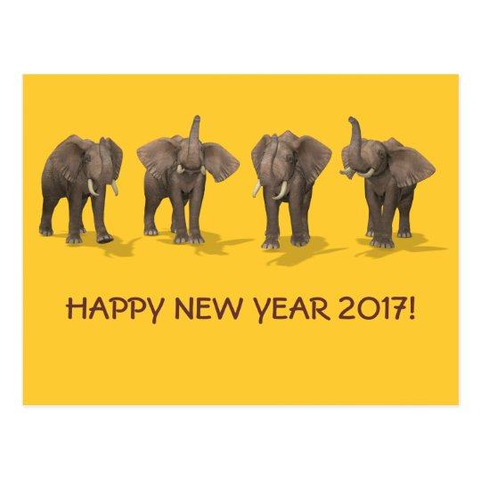 Happy New Year 2017 Elephants Postcard