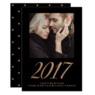 Happy New Year 2017 Faux Rose Gold and Black Photo Card