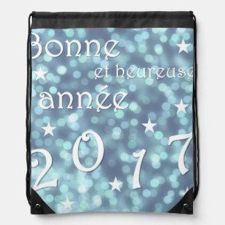 Happy new year 2017, french drawstring bag