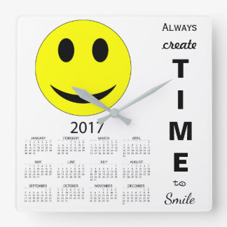 Happy New Year 2017 Inspirational Smiley Calendar Square Wall Clock