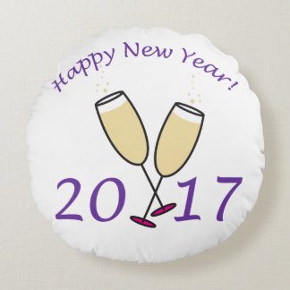 Happy New Year 2017 Round Pillow
