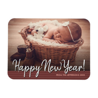 Happy New Year 2018 Baby Photo Holiday Magnet