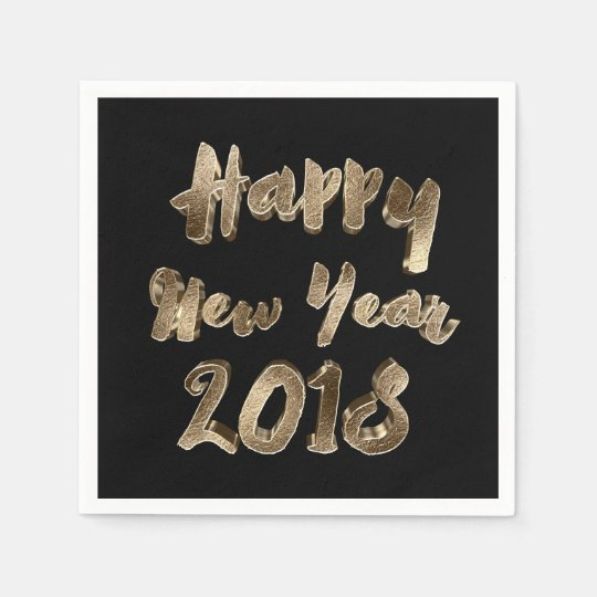 Happy New Year 2018 Black and Gold Look Typography Napkin