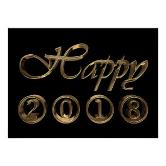 Happy New Year 2018 Black and Gold Typography Poster