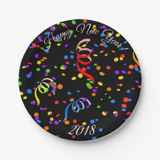 Happy New Year 2018 black confetti paper plate