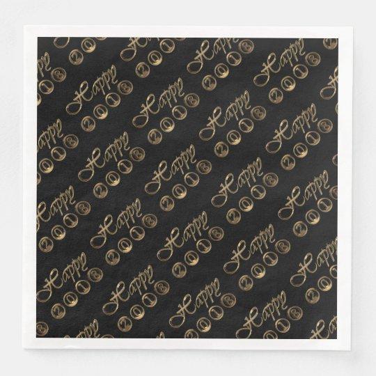 Happy New Year 2018 Elegant Black Gold Typography Paper Napkin