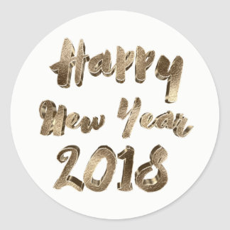 Happy New Year 2018 Elegant Gold Look Typography Round Sticker