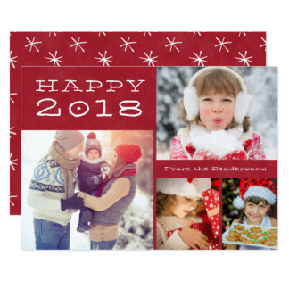 Happy New Year 2018 Family Photo Template Red