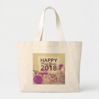 happy new year 2018 large tote bag
