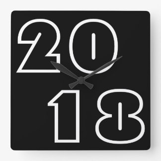 Happy New Year 2018, Numbers Black White Clock