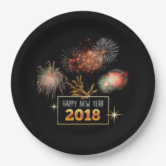Happy New Year 2018 Paper Plate
