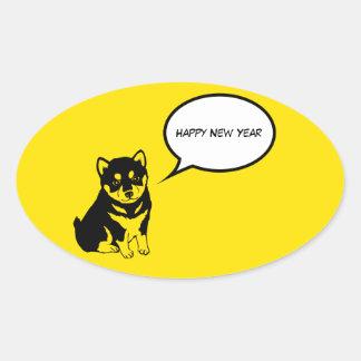 Happy New Year 2018 Puppy Oval Sticker