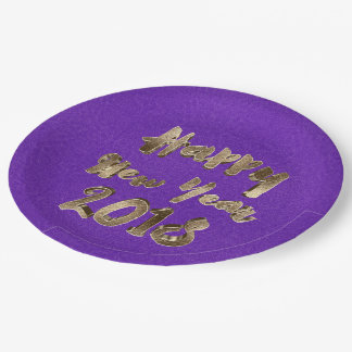 Happy New Year 2018 Purple Gold Typography Paper Plate