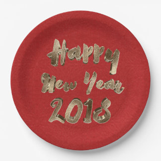 Happy New Year 2018 Red Gold Typography Paper Plate