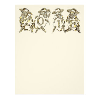 Happy New Year 2018 Sheep Numbers Gold Sparkles Letterhead