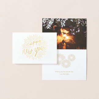 Happy New Year 2018 Shining Golden Rays Foil Card