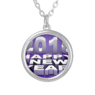 Happy New Year 2018 Silver Plated Necklace