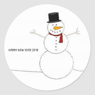 Happy New Year 2018 Stickers with funny snowman