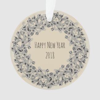 Happy New Year 2018 wreath-design ornament