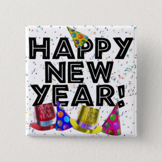 HAPPY NEW YEAR! 2 INCH SQUARE BUTTON