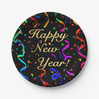 """Happy New Year!"" 7 Inch Paper Plate"