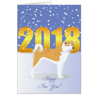 Happy New Year Akita dog Card