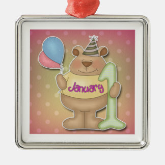 Happy New Year Bear Metal Ornament