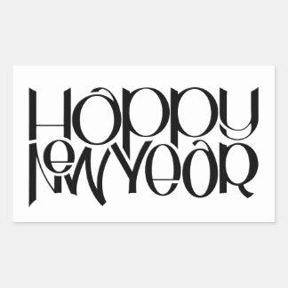 Happy New Year black Rectangle Sticker