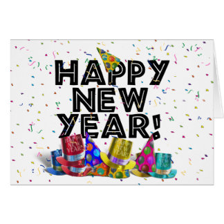 Happy New Year - Black Text with Party Hats Card