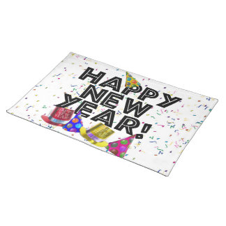 Happy New Year - Black Text with Party Hats Placemat