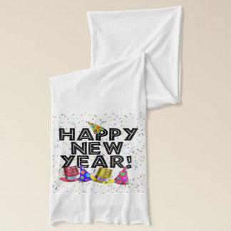 Happy New Year - Black Text with Party Hats Scarf