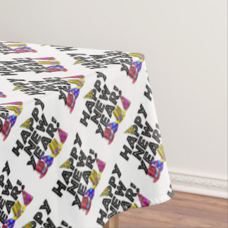 Happy New Year - Black Text with Party Hats Tablecloth