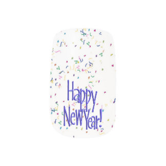 Happy New Year - Blue Text on White Confetti Fingernail Decal