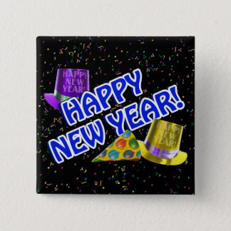 HAPPY NEW YEAR! Blue Text w/Party Hats 2 Inch Square Button