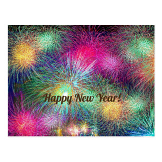 Happy New Year bright fireworks post card