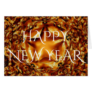 Happy New Year Brown Gold Copper Elegant Star Card