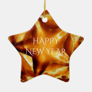 Happy New Year Brown Gold Copper Elegant Star Ceramic Ornament