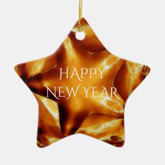 Happy New Year Brown Gold Copper Elegant Star Ceramic Star Ornament