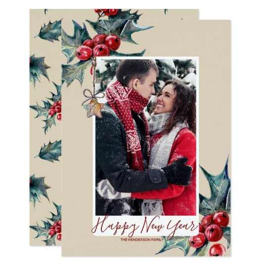 happy new year card holiday winter foliage holly