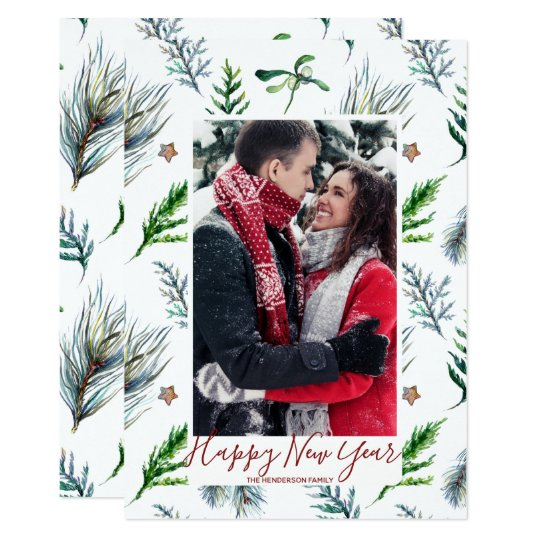 happy new year card holiday winter foliage pine