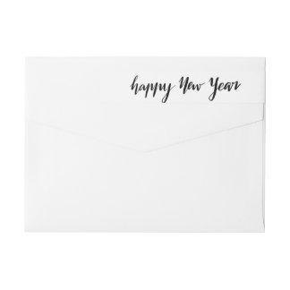 Happy New Year Casual Black Handwritten Script Wrap Around Label