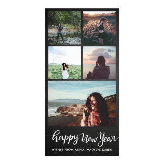 Happy New Year Casual Script Five Photo Collage Card