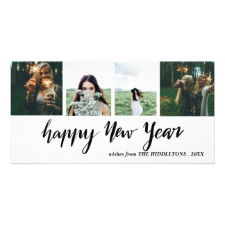 Happy New Year Casual Script Four Photo Collage Card