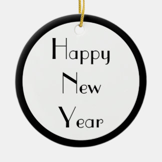 Happy New Year Ceramic Ornament
