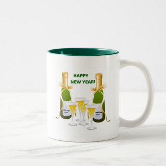 HAPPY NEW YEAR CHAMPAGNE CELEBRATION PRINT Two-Tone COFFEE MUG