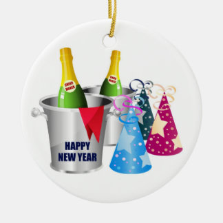 Happy New Year Champagne Ceramic Ornament